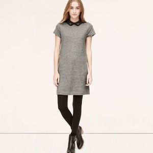 Ann Taylor Loft Gray Dress with Jeweled Collar